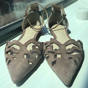 ZARA LaserCut Leather Flats w/ Ankle Strap 💐